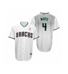 Men's Ketel Marte Arizona Diamondbacks #4 White Teal 2019 Mothers Day Cool Base Jersey