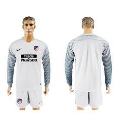 Atletico Madrid Blank White Goalkeeper Long Sleeves Soccer Club Jersey1