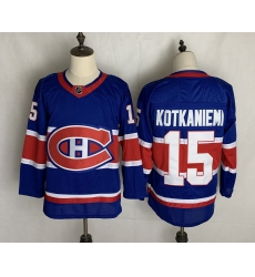 Men's Montreal Canadiens #15 Jesperi Kotkaniemi Authentic Blue Away Fanatics Jersey