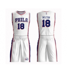 Men's Philadelphia 76ers #18 Shake Milton Swingman White Basketball Suit Jersey - Association Edition