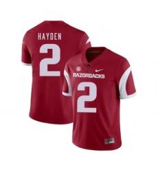Arkansas Razorbacks 2 Chase Hayden Red College Football Jersey