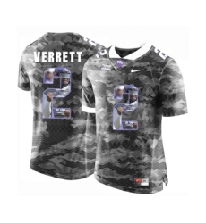 TCU Horned Frogs 2 Jason Verrett Gray With Portrait Print College Football Limited Jersey