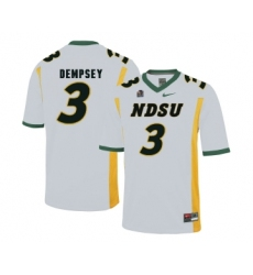 North Dakota State Bison 3 Tre Dempsey White College Football Jersey