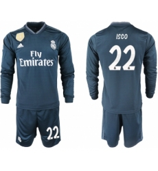 2018-19 Real Madrid 22 ISCO Away Long Sleeve Soccer Jersey