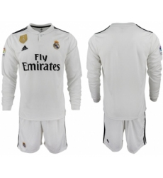 2018-19 Real Madrid Home Long Sleeve Soccer Jersey