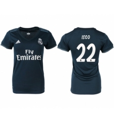 2018-19 Real Madrid 22 ISCO Away Women Soccer Jersey
