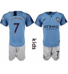 2018-19 Manchester City 7 STERLING Home Youth Soccer Jersey
