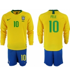 2018-19 Brazil 10 PELE Home Long Sleeve Soccer Jersey