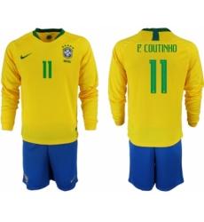 2018-19 Brazil 11 P. COUTINHO Home Long Sleeve Soccer Jersey