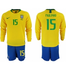 2018-19 Brazil 15 PAULINHO Home Long Sleeve Soccer Jersey