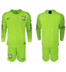 2018-19 Brazil Fluorescent Green Goalkeeper Long Sleeve Soccer Jersey