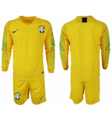 2018-19 Brazil Home Goalkeeper Long Sleeve Soccer Jersey