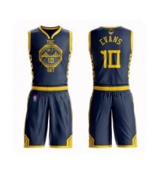 Men's Golden State Warriors #10 Jacob Evans Swingman Navy Blue Basketball Suit 2019 Basketball Finals Bound Jersey - City Edition