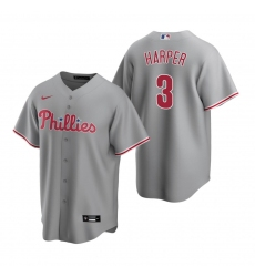 Men's Nike Philadelphia Phillies #3 Bryce Harper Gray Road Stitched Baseball Jersey