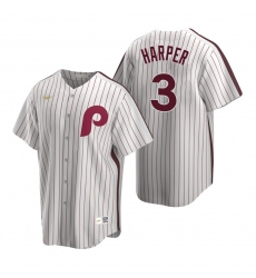 Men's Nike Philadelphia Phillies #3 Bryce Harper White Cooperstown Collection Home Stitched Baseball Jersey