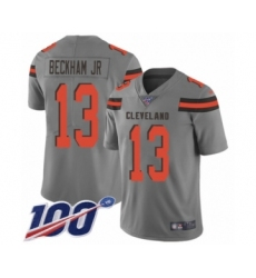 Men's Cleveland Browns #13 Odell Beckham Jr. 100th Season Limited Gray Inverted Legend Football Jersey
