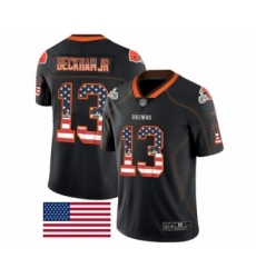 Men's Cleveland Browns #13 Odell Beckham Jr. Limited Black Rush USA Flag Football Jersey