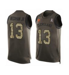 Men's Odell Beckham Jr. Limited Green Nike Jersey NFL Cleveland Browns #13 Salute to Service Tank Top