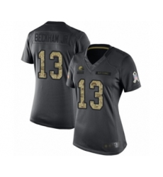 Women's Odell Beckham Jr. Limited Black Nike Jersey NFL Cleveland Browns #13 2016 Salute to Service