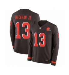 Youth Odell Beckham Jr. Limited Brown Nike Jersey NFL Cleveland Browns #13 Therma Long Sleeve