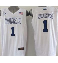 Blue Devils #1 Jabari Parker White Basketball Elite Stitched NCAA Jersey