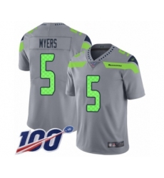 Youth Seattle Seahawks #5 Jason Myers Limited Silver Inverted Legend 100th Season Football Jersey