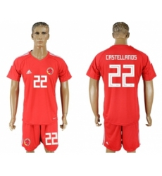 Colombia #22 Castellanos Red Goalkeeper Soccer Country Jersey
