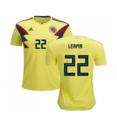 Colombia #22 Lerma Home Soccer Country Jersey