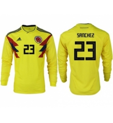 Colombia #23 Sanchez Home Long Sleeves Soccer Country Jersey