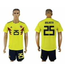 Colombia #25 Balanta Home Soccer Country Jersey