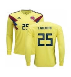 Colombia #25 E.Balanta Home Long Sleeves Soccer Country Jersey