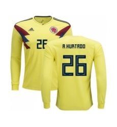 Colombia #26 A.Hurtado Home Long Sleeves Soccer Country Jersey