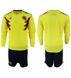 Colombia Blank Home Long Sleeves Soccer Country Jersey