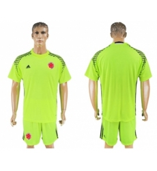 Colombia Blank Shiny Green Goalkeeper Soccer Country Jersey