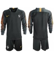France Blank Black Goalkeeper Long Sleeves Soccer Country Jersey