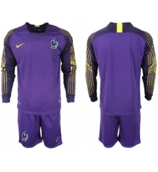 France Blank Purple Goalkeeper Long Sleeves Soccer Country Jersey