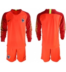 France Blank Red Goalkeeper Long Sleeves Soccer Country Jersey