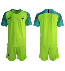 France Blank Shiny Green Goalkeeper Soccer Country Jersey
