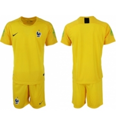France Blank Yellow Goalkeeper Soccer Country Jersey