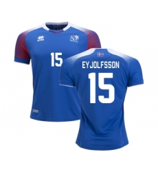 Iceland #15 EYJOLFSSON Home Soccer Country Jersey