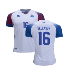 Iceland #16 SKULASON Away Soccer Country Jersey
