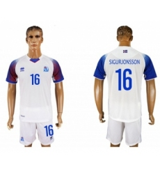 Iceland #16 Sigurjonsson Away Soccer Country Jersey