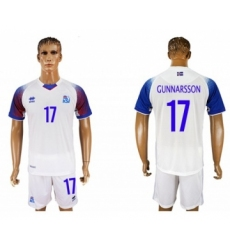 Iceland #17 Gunnarsson Away Soccer Country Jersey