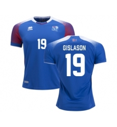 Iceland #19 GISLASON Home Soccer Country Jersey