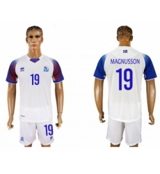 Iceland #19 Magnusson Away Soccer Country Jersey