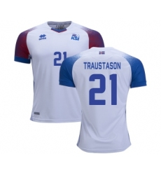 Iceland #21 TRAUSTASON Away Soccer Country Jersey