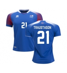 Iceland #21 TRAUSTASON Home Soccer Country Jersey