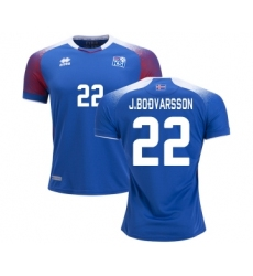Iceland #22 J.BODVARSSON Home Soccer Country Jersey