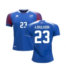 Iceland #23 A.SKULASON Home Soccer Country Jersey