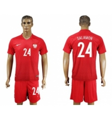 Poland #24 Salamon Away Soccer Country Jersey